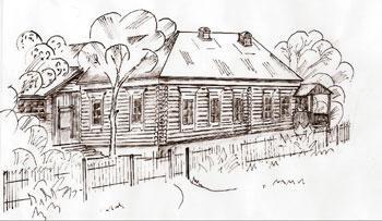 «Большой поповский дом». Рисунок А. П. Лунякова